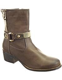 Sopily - Zapatillas de Moda Botines Cavalier Media pierna mujer tachonado metálico Talón Tacón ancho alto 5 CM - plantilla sintética - forradas en piel - Caqui
