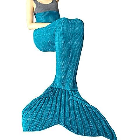 YIZYIF Sirena Manta A Mano Punto Manta Para Dormir Traje De Cola De Sirena Bolsa De Manta De Punto Multicolor Para Adultos