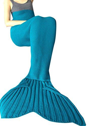 iEFiEL Mädchen Damen Kostüm Meerjungfrau Fischschwanz Decke Schwanz Flosse Handgemachte Schlafsack Blanket Kostüm Häkel Erwachsene Decke, Blau, Erwachsene Größe