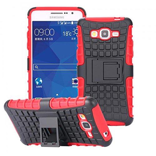 ECENCE Handyhülle Schutzhülle Outdoor Case Cover + Panzerfolie kompatibel für Samsung Galaxy Grand Prime G530 Handytasche Rot 12010203
