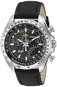 Timex - T2P101 - Intelligent - Montre Homme - Quartz Chronographe - Cadran Noir - Bracelet Cuir Noir