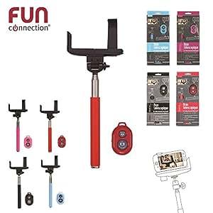 FUN Connection HT1054 Perche Selfie avec télécommande Bluetooth pour Smartphone 118 cm Noir/Rouge/Bleu/Rose
