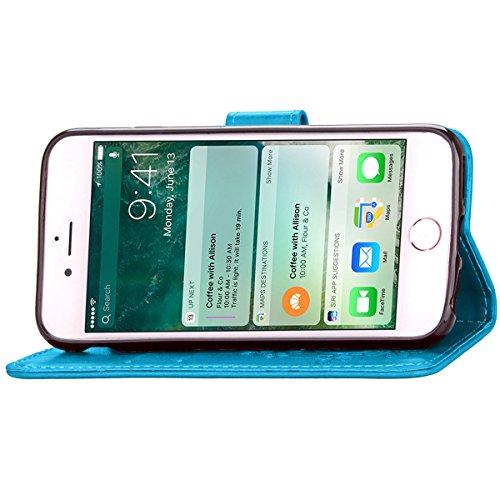 iPhone 7 Coque, Apple iPhone 7 Coque, Lifeturt [ Marron ] Motif Pure Couleur Housse en Cuir Case à Avec La Fonction Stand Coque de Intérieure Protection Souple Coque Portefeuille TPU Silicone Case Cov E2-Bleu