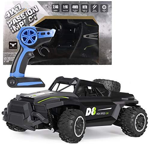 FREE TO FLY Fernsteuerung Auto 4WD Fernsteuerung 2,4-GHz,bis 25 km/h RC Auto,1 :16 Allrad-Antrieb Spielzeug Fahrzeug für Kinder nstertruck Fahrspaß für Jung und Alt auch über jedes Gelände