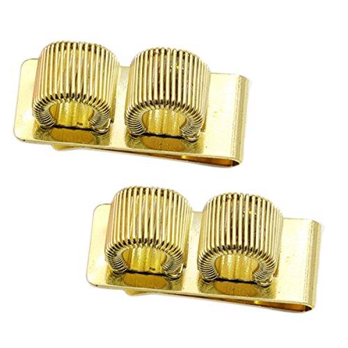 Stifthalter Clip,BEETEST 2 PCS Metall Dual Slots Stifthalter mit Pocket Clip für Ärzte Krankenschwestern Piloten Yard Manager Office Gold - Dual Slot Fan
