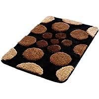 Tapis de bain 50x80cm noir marron beige points vintage acrylique hauteur 20/13mm