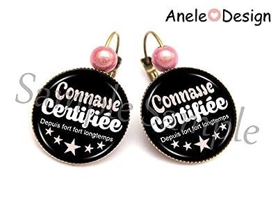 Boucles d'oreille Connasse femme -noir rose