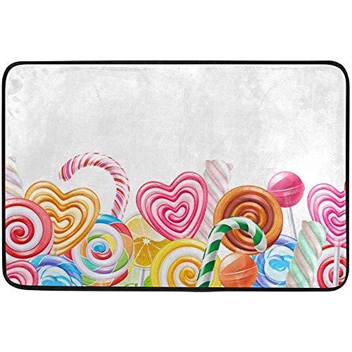 Kinhevao Valentinstag Süßigkeiten Herz Lieben Sie Sommer Frühling Hochzeit Fußmatten Fußmatten Schaber für Zuhause Indoor Eingang Weg Haustür Badematte (Süßigkeiten Herzen Benutzerdefinierte)