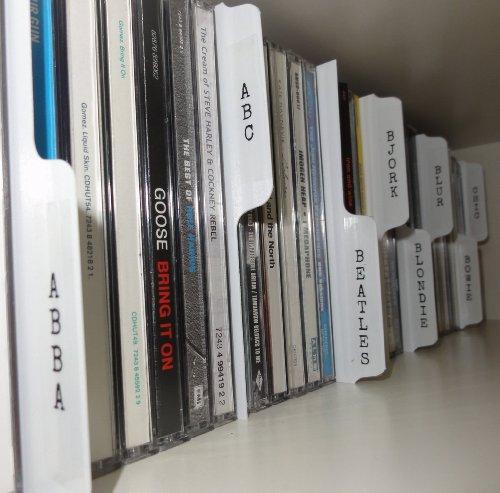 CD-Registerblätter (ideal für Regal-Aufbewahrung), Weiß, 26 Stück