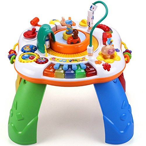 Musical Learning Table Baby Toy - Toddlers Educational Toys with Piano Pat Drum Light Up for Baby Kids (Orange)