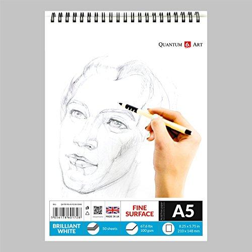 A5Sketch Pad Weiß Zeichnungen Künstler Papier auf Spirale Buch–50Blatt–100Seiten