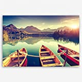 ge Bildet hochwertiges Leinwandbild XXL Naturbilder Landschaftsbilder - Tatra Nationalpark in der Slowakei - natur türkis sonnenuntergang - 120 x 80 cm einteilig | Wanddeko Wandbild Wandbilder Wohnzimmer deko Bild | 2213 D