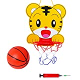 Baoblaze Kinder karikatur Tiger Basketballboard + Basketball + Luftpumpe Sportspielzeug Set