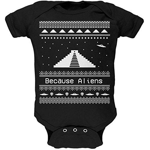 Ancient Aliens hässlich Christmas Sweater schwarz weiches Baby 1 Gepäckstück - 18-24 Monate (Aliens T-shirt Weichen)