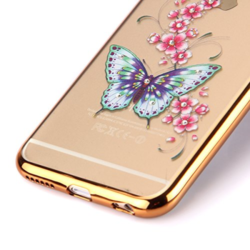 Coque Housse Etui pour iPhone 6s, iPhone 6 Coque en Silicone avec Bling Diamant Or Rose, iPhone 6S Placage de diamant Or Rose Coque Rose Gold Etui Housse, iPhone 6s Silicone Transparent Case Soft Gel  Gold-Papillon rose