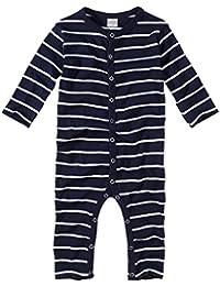 wellyou, Schlafanzug, Pyjama für Jungen und Mädchen, Einteiler langarm, Baby Kinder, marine-blau weiß gestreift, geringelt, Feinripp 100% Baumwolle