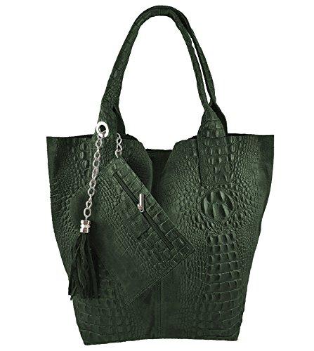 Damen Echtleder Shopper mit Schmucktasche in vielen Farben Schultertasche Henkeltasche Handtasche Metallic look (Grün Kroko)