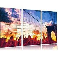Manhattan tramonto Brush Effect 3 PC immagine immagine su tela 120x80 su tela a, XXL enormi immagini completamente Pagina con la barella, stampe d'arte sul murale cornice gänstiger come la pittura o un dipinto ad olio, non un manifesto o un