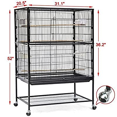 Popamazing Detachable Pet Bird Budgie Canary Aviary Parrot Cage African Grey Cockatiels African Macaw Parakeet Budgie Open Top Perches Stand Cage