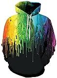 Leapparel Herren Kapuzensweatshirt Hoodies Men 3D Grafik Schwarze Graffiti All-Over Print Pullover mit Tunnelzug und Große Kängurutasche und Fleece-Innenfutter
