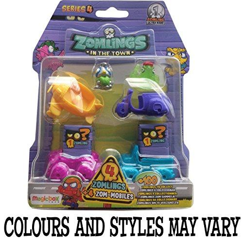 Magic Box Toys - Zomlings, serie 4, confezione con 4 personaggi + macchinine, modelli assortiti