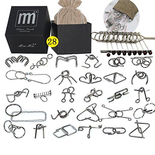 BrilliantDay Set von 28 IQ-Test Toys Mind Spiel Brain Teaser Metall Draht Puzzles (Teaser Brain Spiele)