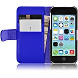iPhone 5C Hülle, JAMMYLIZARD Ledertasche Flip Cover für iPhone 5C, BLAU