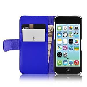 Housse iPhone 5C  Coque iPhone 5C | JAMMYLIZARD | Housse portefeuille Classique aspect cuir range cartes fermeture magnétique, Bleu