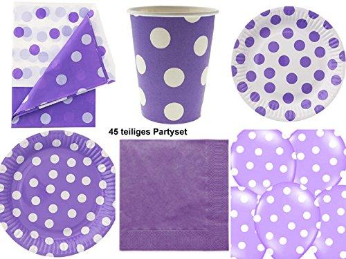 Partyset-Partygeschirr lila weiß 45 teilig Teller Becher Servietten Geburtstagset Grillparty