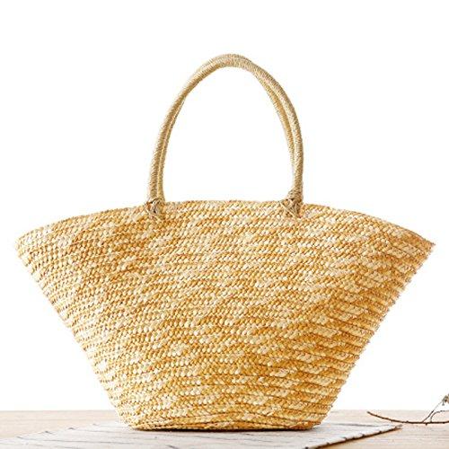 Mefly Koreanische Garn Geflochtene Seidenblumen Und Pastoralen Blumen Gewebten Beutel Fashion Handtasche Strandtasche Straw colored without flower