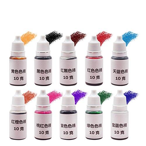 EsportsMJJ 10Pcs Uv Ultravioletti Polimerizzazione Tintura Pigmento Liquido Colorante Mix Colori Fai Da Te Artigianato Di Resina A Resina Epossidica