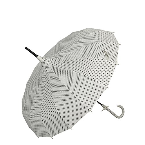 4PLU0006N paraguas - naturales con diseño de lunares ca. Ø 32,7 x 34,3 en