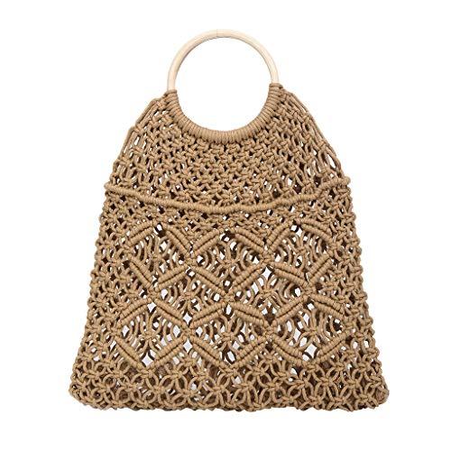 Morran Damen Umhängetaschen Stroh Gewebt Tasche Strandtasche Messenger Bags -