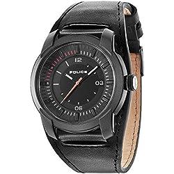 Police Men's Black Leather Strap Watch