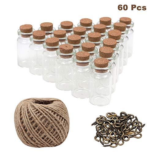 BELLE VOUS Glasfläschchen(60 Stück) mit Korken - 2ml Mini Glasflaschen mit 30m Garn und 60 Ösenschrauben - Mini Deko Fläschchen Gastgeschenke für Hochzeit-Kleine Flaschen zum DIY Projekte, Basteln