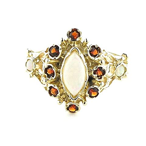 Luxury 9c Gold 9ct Gold Ladies Fiery Marquise Opal & Garnet English Victorian Style Ring - Finger Sizes K to Y Available - Perfect gift for Anniversary, Engagement,