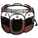Zerone Laufstall,Pet Fences Pet Portable Faltzäune Welpen Zäune Oxford Fences 8 Mesh Panels Geeignet für Hunde, Katzen und Tiere(Farbe optional) (Kaffee Farbe)