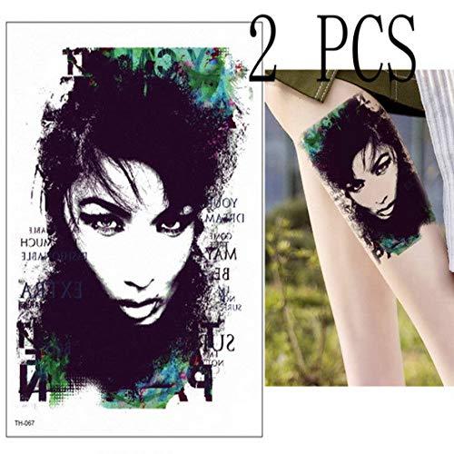 adgkitb 3 stücke Temporäre Tätowierung Geisha Japanischen Samurai Tattoos Blätter Tattoo Abnehmbare wasserdichte Tattoo Aufkleber Körper Frauen TH67x2 21x15 cm