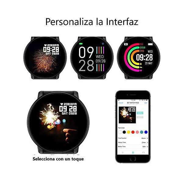 TDOR Smartwatch con Whatsapp Hombre Mujer Reloj Inteligente Android iOS Deportivo, Color Negro 5