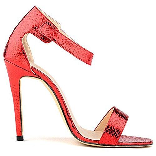 Damen Open Toe Lackleder Sandalen High-Heels Stiletto Knöchelriemchen Schnalle Schlange Rot
