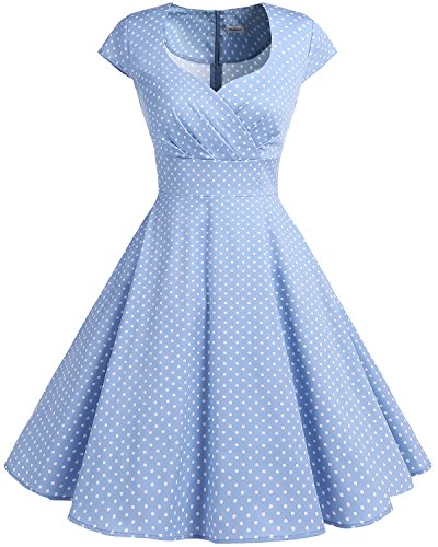 bbonlinedress 1950er Vintage Retro Cocktailkleid Rockabilly V-Ausschnitt Faltenrock Blue Small White Dot 3XL