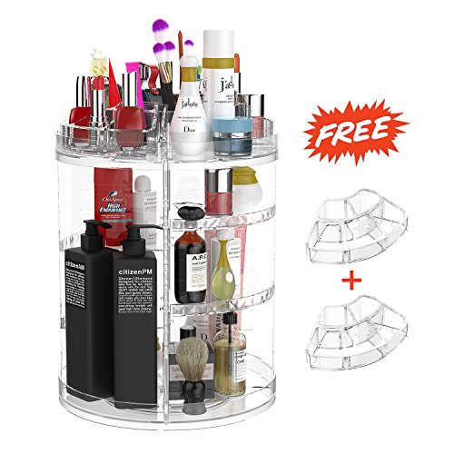 Drehbare Make Up Organizer and Halter, 360 Grad Multifunktionale Kosmetik Aufbewahrung,Transparent  Kosmetischer Aufbewahrungsbox with Große Kapazität by Boxalls