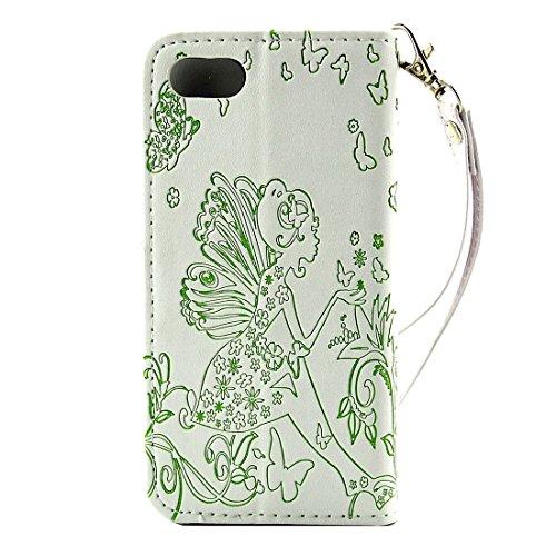 Für iPhone 7 Geprägte Blumen-Schmetterlings-Mädchen-Muster-Diamant-verkrustete horizontale Schlag-Standplatz PU-lederne Kasten-Abdeckung mit Halter u. Kartenschlitzen u. Mappe u. Foto-Rahmen u. Lanyar IP7G1116WG