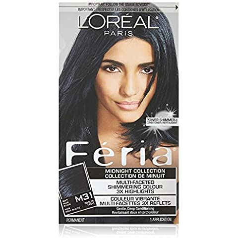 Feria Midnight Collection Hair Color, M31 Cool Soft Black (Packaging May Vary) by L'Oreal (Loreal Feria Midnight Collection)