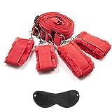 Bettfesseln Bettfessel Fesseln Bett Bondage Set Restraint Weicher Plüsch Handschellen Fußfesseln mit Augenbinden (Rot)