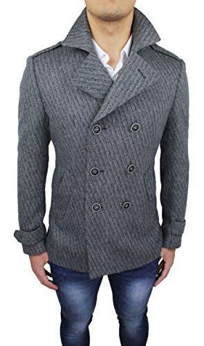 Cappotto uomo sartoriale Alessandro Gilles made in Italy grigio doppiopetto casual elegante (M)