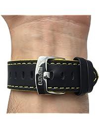 Reloj de pulsera banda de cuero, Racer, 18mm, color negro con costuras de color amarillo