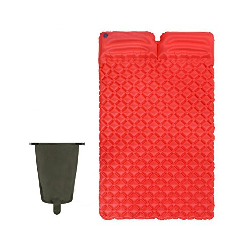 DMGF Doppelter Aufblasbarer Isomatte-Kampierendes Luftmatratze-Kissen-Leichter Kompakter Reisender Wandernder Luft-Bett/Beutel Portable 2 Person Waterproof Air Mat,Red (Standard-bett In Einem Beutel)