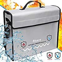 Aitere Fireproof Document Wallet 39 x 13 x 31 cm Fireproof Waterproof Case Bag for A4 Documents Passport Bank File Money Valuables Made Silicone Fibreglass