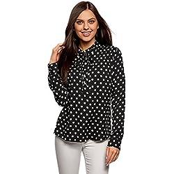 oodji Ultra Mujer Blusa de Viscosa con Lazos en el Cuello, Negro, ES 36 / XS